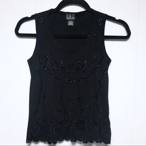 INC Womens Black Floral Embroidered Sleeveless Top